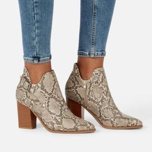 JustFab On The Sky Snake Booties